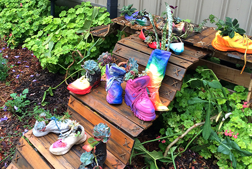 shoes in garden